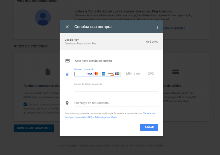 Como criar a conta de desenvolvedor na Google Play
