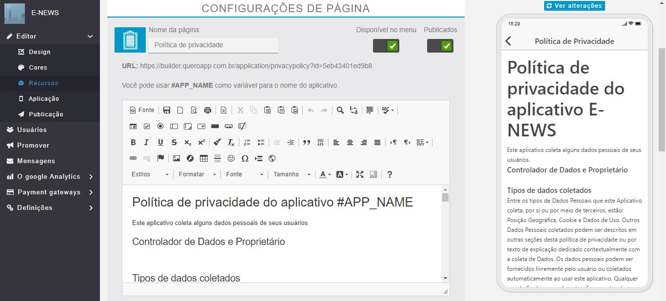 Adicionando a política de privacidade do seu aplicativo